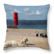 Dog Lying On The Beach In Front Of Red Lighthouse Of Cres Throw Pillow