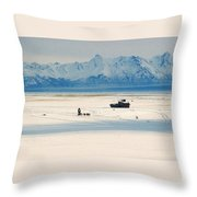 Dog Musher At Cook Inlet - Alaska Throw Pillow