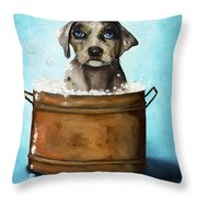 Dog N Suds Throw Pillow by Leah Saulnier The Painting Maniac