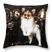Dog On A Dark Background In The Style Of Steampunk Throw Pillow