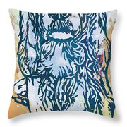 Dog Pop Etching Art Poster Throw Pillow