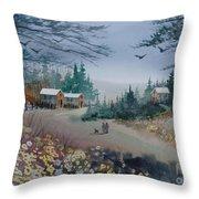 Dog Walking, Watercolor Painting  Throw Pillow