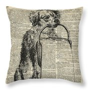 Dog With A Picnic Basket Throw Pillow