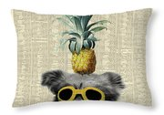 Dog With Goggles And Pineapple Throw Pillow