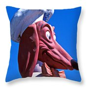 Doggie Dinner Sign Throw Pillow by Garry Gay
