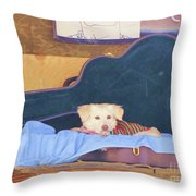 Doggy In The Guitar Case Throw Pillow