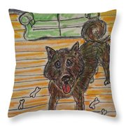 Doggy Snack Time Throw Pillow