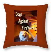 Dogs Against Fireworks Throw Pillow