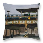 Dogs And Trains In The Village Throw Pillow