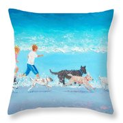 Dogs Day Out Throw Pillow