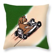 Dogs Don't Ride Go Carts Throw Pillow