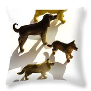 Dogs Figurines Throw Pillow