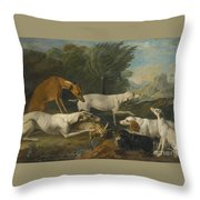 Dogs In A Landscape With Their Catch Throw Pillow
