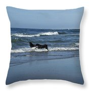 Dogs In The Surf Throw Pillow