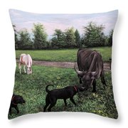 Dogs Meeting Bull Throw Pillow