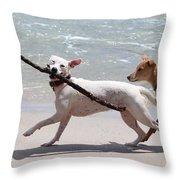 Dogs On The Beach Throw Pillow