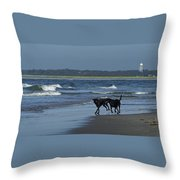 Dogs On The Beach Throw Pillow
