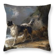 Dogs On The Coast Throw Pillow