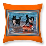 Dogs Playing On The Beach No. 2 L A With Decorative Ornate Printed Frame. Throw Pillow