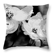 Dogwood Blossoms - Black And White Throw Pillow