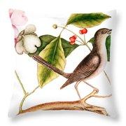 Dogwood  Cornus Florida, And Mocking Bird  Throw Pillow