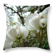 Dogwood Flowers White Dogwood Trees Blossoming 8 Art Prints Baslee Troutman Throw Pillow