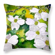 Dogwood Tree Flowers Throw Pillow