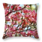 Dogwood Tree Landscape Art Prints Blue Sky Baslee Troutman Throw Pillow