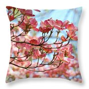 Dogwood Tree Landscape Pink Dogwood Flowers Art Throw Pillow
