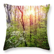 Dogwoods In The Forest Throw Pillow
