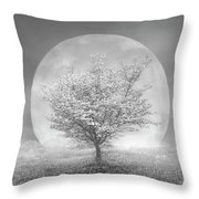 Dogwoods In The Moon Black And White Throw Pillow