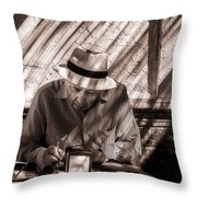 Doing The Crossword Puzzle Throw Pillow