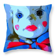 Doll In Blue Throw Pillow