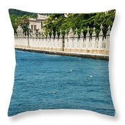 Dolmabahce Palace Tower And Fence Throw Pillow
