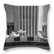 Dolphin Fountain In Black And White Throw Pillow by Frank Feliciano