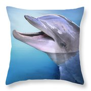 Dolphin In The Moonlight Throw Pillow