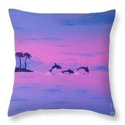 Dolphin Island Throw Pillow