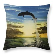 Dolphin Jump Throw Pillow