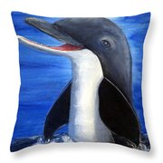 Dolphin Laughing Throw Pillow