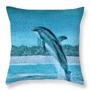 Dolphin Mural Throw Pillow