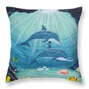 Dolphin Play Throw Pillow