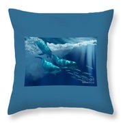 Dolphin World Throw Pillow by Corey Ford