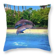 Dolphins Dance Throw Pillow