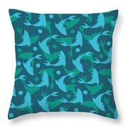 Dolphins In Blue  Throw Pillow