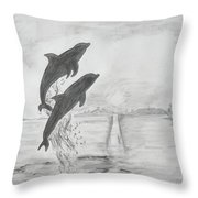 Dolphins Of The Sea Throw Pillow