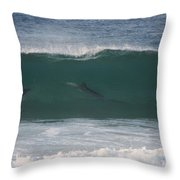 Dolphins Surfing The Waves Throw Pillow