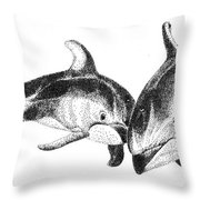 Dolphins Togeter Throw Pillow