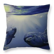Dolphins Underwater Game Throw Pillow