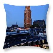Dom Tower In Utrecht At Dusk 24 Throw Pillow