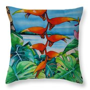 Dominican Heliconia Throw Pillow